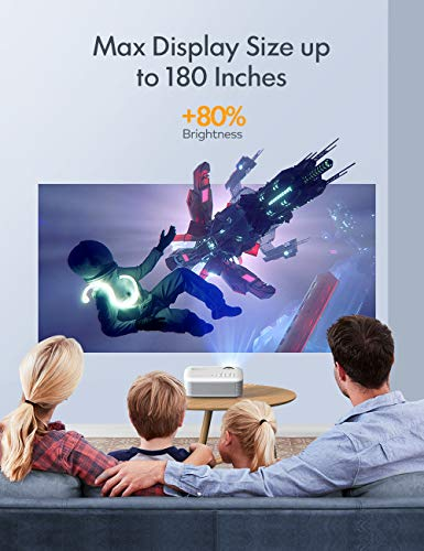 APEMAN Projector Portable Mini Projector 5500 Lumens [2021 Upgraded] Support 1080P Max 180' Display LCD Home Cinema Projector 50000 Hour Life HDMI, VGA, USB, SD, AV Input Chromecast Compatible