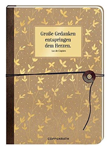 Notizbuch mit Wickelverschluss - Große Gedanken entspringen dem Herzen.