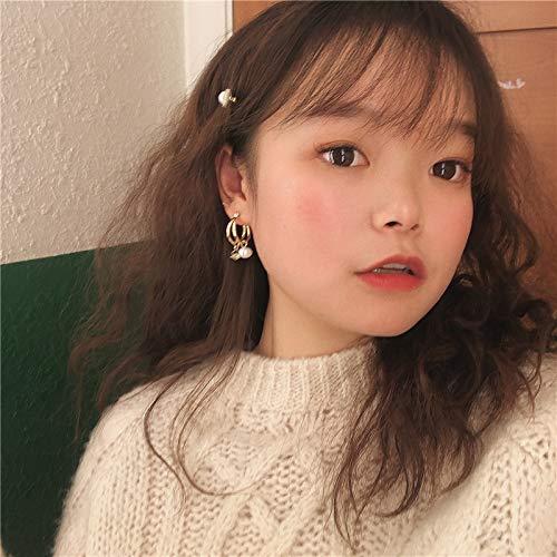Chwewxi Koreanische Temperament einfache Retro geometrische runde doppelte Ohrringe Lange quaste Ohrringe weibliche Perle kristall Ohrringe weiblich, EIN Paar Ohrringe