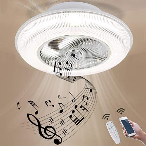 GUSICA Bluetooth Ventilator Deckenleuchte mit Fernbedienung und Lautsprecher Leise Deckenventilator mit Beleuchtung 96W LED Dimmbar Kinderzimmer Fan Deckenlampe, Ø 60cm,Weiß