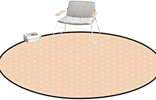 Desk Chair mat for Carpet Modern Geometric Rhombus Tile Pattern with Squares and Flowers Simple Minimalist Design Salmon White Outdoor Rugs Round 4'Diameter