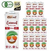 ケース販売 EcoMil (エコミル) 有機ココナッツミルク ストレート (無糖)1000ml×12本