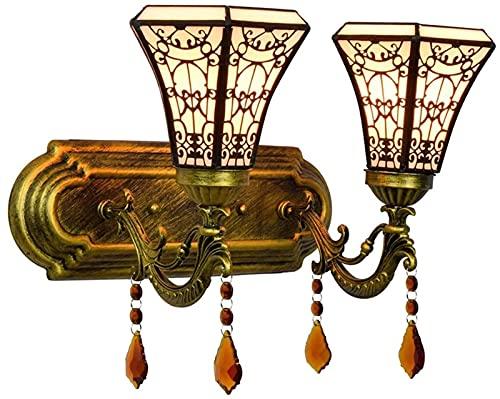 Accesorio de lámpara de pared, lámpara de pared de estilo moderno, sala de estar, arte de estilo árabe, dormitorio simple, mesita de noche, lámpara de pared de cristal doble, vitr