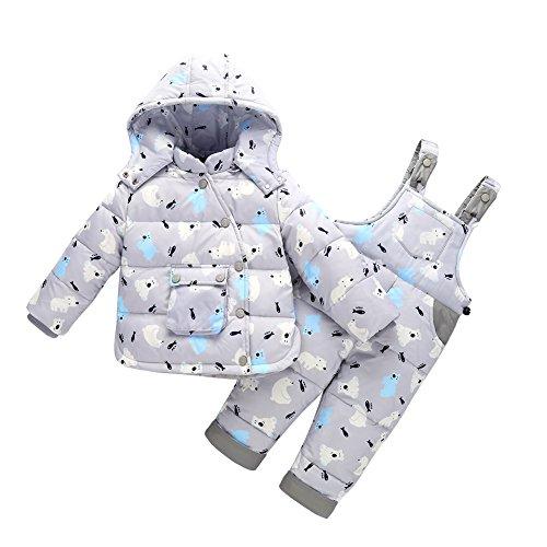 Zoerea 2 Pezzi Bambino Piumino Unisex Tuta da Sci per Bambino Invernale Giacca Bambina Snowsuit Snowboard Piumino Leggero Sci Giacche Completo da Neve