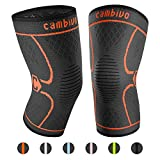 CAMBIVO 2 Pack Knee Brace, Knee Compression Sleeve Support for Running, Arthritis, ACL, Meniscus Tear, Sports, Joint Pain Relief and Injury Recovery (Large, Orange)