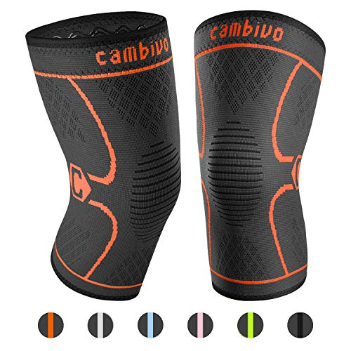 CAMBIVO 2 Pack Knee Brace, Knee Compression Sleeve Support for Men and Women, Running, Hiking, Arthritis, ACL, Meniscus Tear, Sports, Joint Pain Relief and Injury Recovery (NS10, Orange, X-Large)
