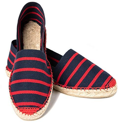 ESPADELLE Klassische Gestreifte Damen Slip-on Espadrilles aus Baumwolle mit Schuhbeutel, Barça, 38, Handmade in Spain