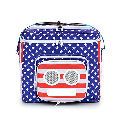 The #1 American Flag Cooler with Speakers (Bluetooth, 20-Watt) for Parties/Festivals/Boat/Beach. Rechargeable Speaker Cooler, Works with iPhone & Android (2020 Edition)