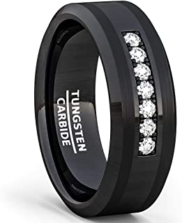 Duke Collections 8mm Black Tungsten Carbide Ring 7 Cubic Zircon Trillion Mens Wedding Comfort Fit