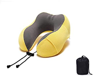 Breathable & Comfortable Memory Foam Travel Neck Pillow, U-Shaped Adjustable Airplane Car Flight Pillow (Multi-Color Optional),E