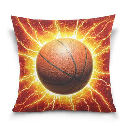lucies Throw Pillow Case Decorative Cushion Cover Square Pillowcase, Amazing Basketball Ball Bright Sofa Bed Pillow Case Cover(18x18inch) Twin Sides