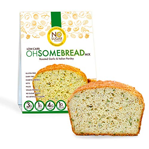 No Sugar Aloud, Low Carb OhSome Bread Mix Garlic & Italian Parsley ( No sugar added, gluten free, Vegan, Keto and Diabetic friendly