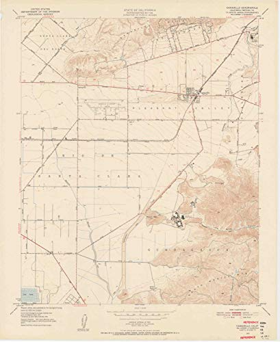 YellowMaps Camarillo CA topo map, 1:24000 Scale, 7.5 X 7.5 Minute, Historical, 1950, Updated 1956, 27.3 x 22.3 in - Tyvek