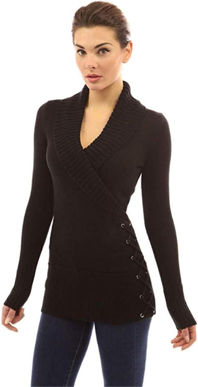 Women Shawl Collar Faux Wrap Lace Up Sweater Long Sleeve Slim Sweater Jumper