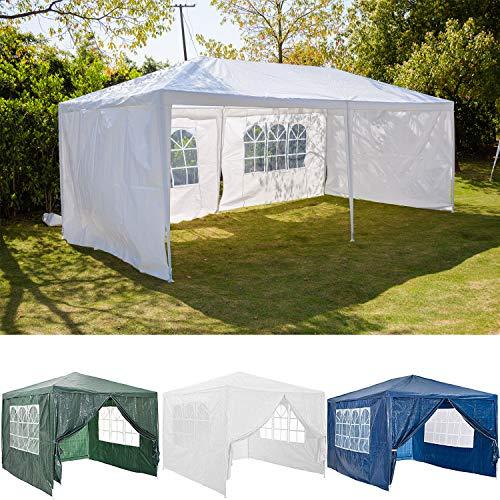 FlyingBanana001 3x6m Garden Gazebo Marquee Tent with 4 Sidewalls Side Panels, Fully Waterproof, Powder Coated Steel Frame for Outdoor Wedding Party Gazebo, White