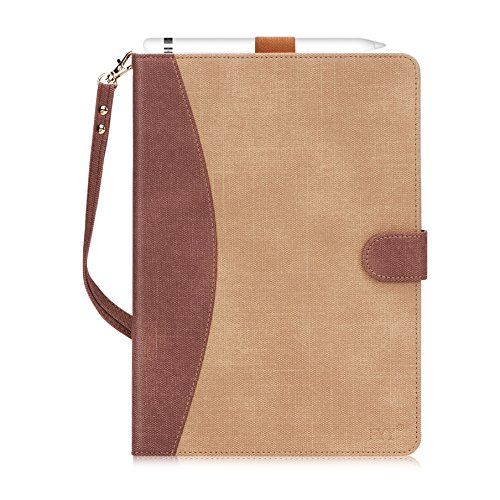 FYY Capa de couro para ipad com suporte, flip folio com vários ângulos de suporte e compartimentos para cartão - diversas cores