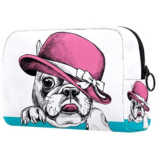 Borsa per cosmetici da viaggio Bulldog francese cane Borse per trucco Custodia per trucco portatile multifunzionale per donne Ragazze 18.5x7.5x13cm