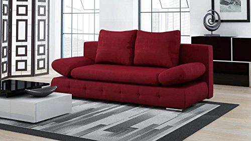 lifestyle4living Schlafsofa in Rot, Bettkasten, 2-Sitzer Sofa mit Schlaffunktion, Microfaser-Stoff, Federkern-Polsterung | Gemütliche Couch in modernem Design