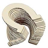 HENTEK 24 Pack Rodajas de madera Rodajas de troncos de madera Forma de herradura Recortes de madera sin terminar para manualidades DIY Decoración Centros de mesa de boda Felicidad de cumpleaños Arte