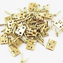 SCSY SSB-JIAJUPJ, 50 stuks mini-scharnieren van metaal, 8 x 10 mm, decoratieve deuren, goudkleurige scharnieren voor siera...