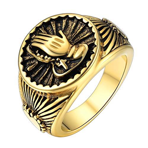 FaithHeart Bandeja con Manos de Rezo y Sello Corazón Anillo de Acero Inoxidable Oro Amarillo Tamaño 09 Joya Cristiana Unisex de Regalo Religioso