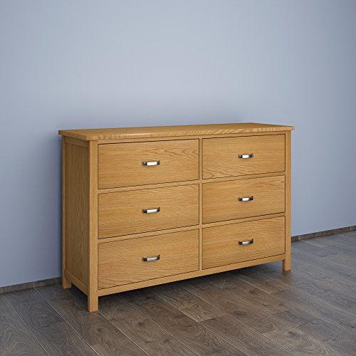 Volowoo London - Cassettiera grande con 6 cassetti in legno di pino massiccio/rovere chiaro/legno massello/credenza in legno, 78 x 120 x 37 cm