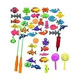 Juego de juguetes de pesca magnéticos para niños para baño tiempo piscina fiesta con caña de pescar, peces flotantes de plástico, educación para niños