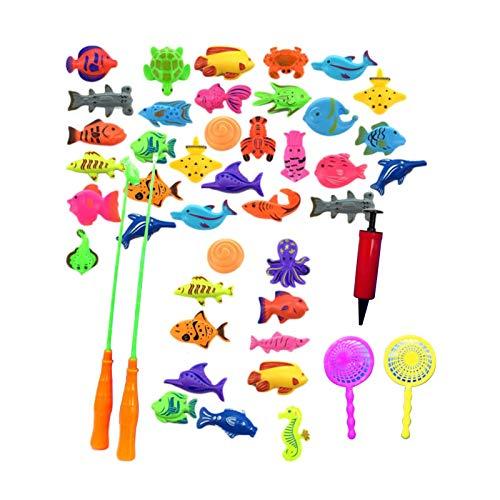 richao 48PCS Juego De Juguete De Pesca Magnéticos Juguete De La Flotando Pesca Conjunto Piscina Y Baño Juguetes para Niños Juguete Educativo Interactivo