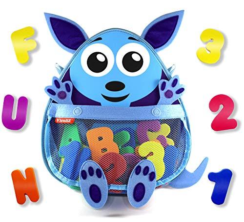 Kangaroo Bath Toy Organizer with Toys – Premium Mesh Bath Toy Storage Net + 36...