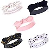 Yoga Sprout Baby Girls' Cotton Headbands, Metallic Moon, 0-24 Months