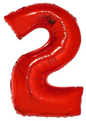 Das Kostümland XXL Zahlen Folienballon 100 cm - Rot Zahl 2 - Riesenzahl Luftballon Dekoration Geschenk für Geburtstag Jubiläum und Party