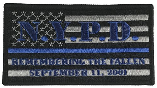 NYPD REMEMBERING THE FALLEN SEPTEMBER 11, 2001 FLAG BLUE LINE POLICE PATCH - Color - Veteran Owned Business.