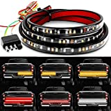 Truck Tailgate Bar 60' 4 PIN 180 LED Strip with Red Brake White Reverse Sequential Amber Turning Signals Strobe Lights Weatherproof No Drill Install (Gift Electrical Tape)