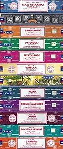 Satya Incense Set of 12 Nag Champa, Super Hit, Sacred Sandalwood, Pure Patchouli, Mystic Rose, Vanilla, Prana, Natural, French Lavender, Opium, Egyptian Jasmine, Champa, VarietyPack01