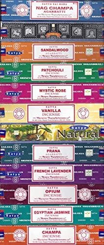 Satya - Lot de 12 encens - Nag Champa, Super Hit, Bois de santal sacré, Patchouli pur, Rose mystique, Vanille, Prana, Naturel, Lavande française, Opium, Jasmin égyptien, Champa - Pack varié 01
