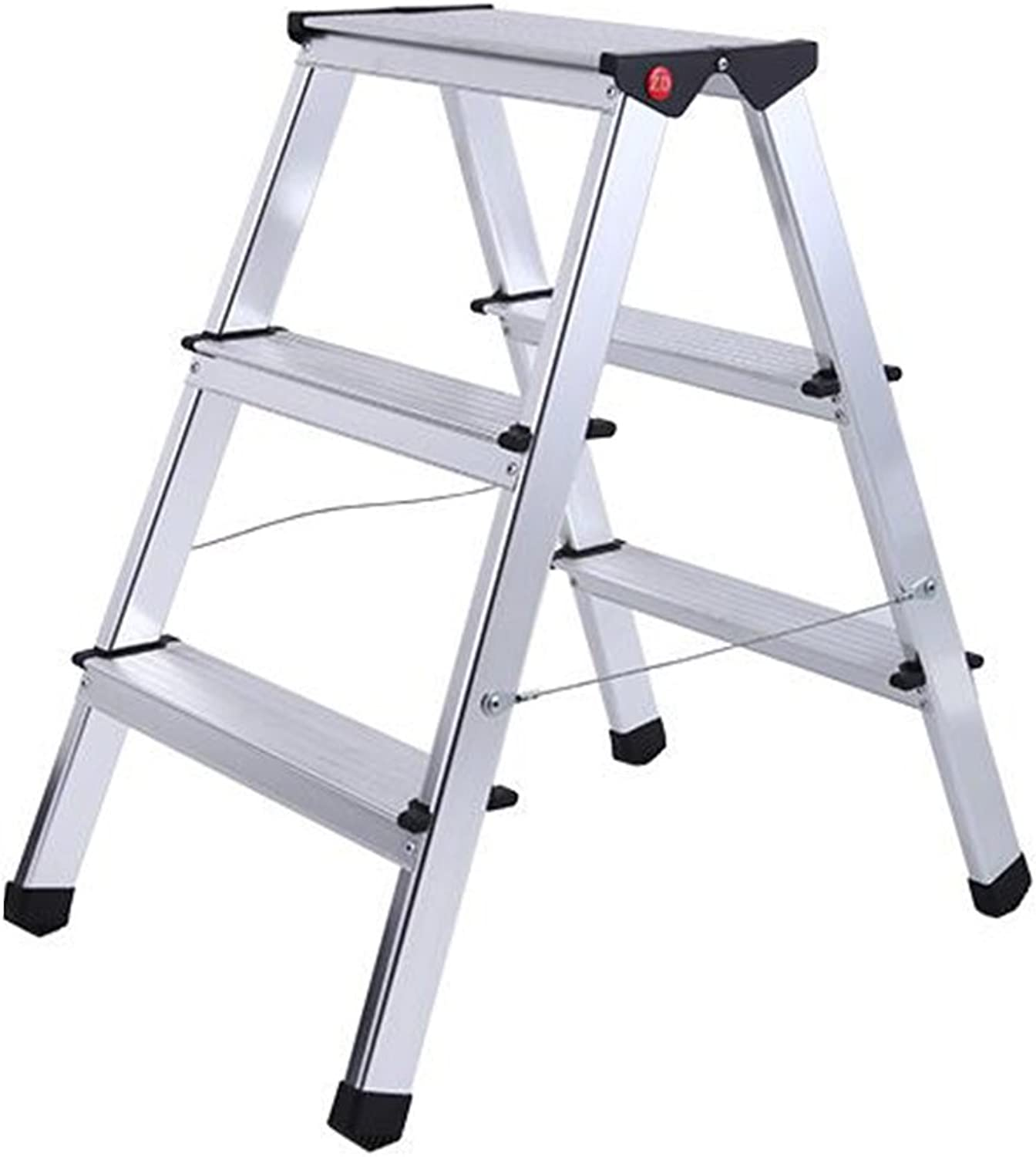 DINJUEN 3-step folding ladder aluminum home small ladder stool multifunctional indoor stairs Utility stool