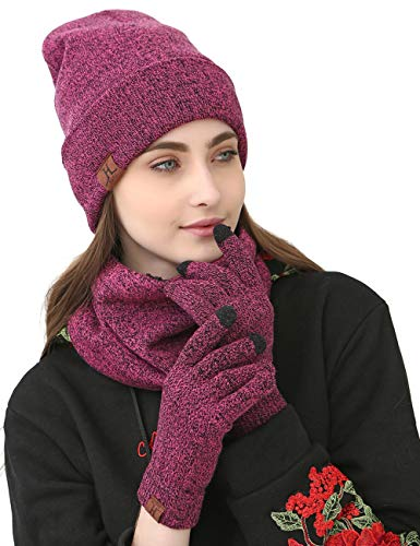 Maylisacc Winter Knit Hat Glove Scarf Set for Women, Thermal Beanie Neck Warmer and Touchscreen Gloves 3 Pcs Combo Purple Rose