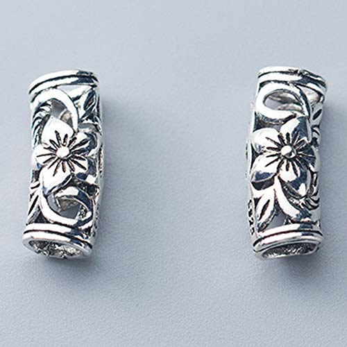 GZMUS S925 Thai Silver Silver Flower Codo Bead Feng Feng Shui Encantos Pulseras Hecho A Mano DIY Crafting Joyería Fabricación Bulk Atraer Money Accessories Collares para Buena Suerte (2Pcs Set)