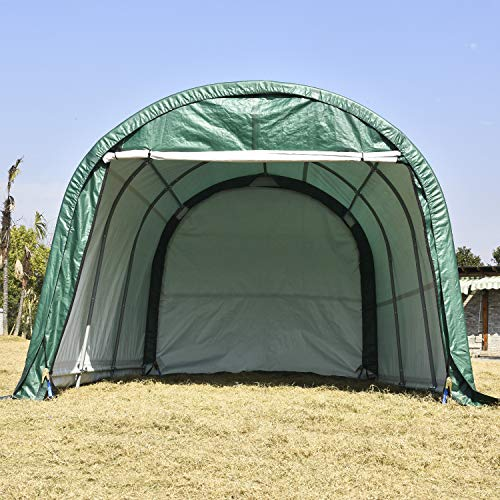 walsport Portable Garage Carport Auto Shelter 10x15x8ft Outdoor Sheds Car Storage Canopy Green Round Top Style Green with Waterproof Cover
