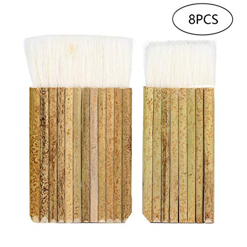 8Pcs Hake Blender Brush Sheep Hair Hake Brush, Bamboo Handle Brush for Watercolor, Wash, Dust Cleaning, Ceramic, Ceramic & Pottery Painting