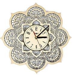 ShareArt Mandala Flower Silent Wood Wall Clock - Original Home Living Room Bedroom Kitchen Decor - Best Birthday Gift for Friends Men Woman - Unique Wall Art Design - Size 12 Inch