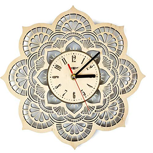 ShareArt Mandala Flower Silent Wood Wall Clock - Original Home Living Room Bedroom Kitchen Decor - Best Birthday Gift for Friends Men Woman - Unique Wall Art Design - Size 12 Inch