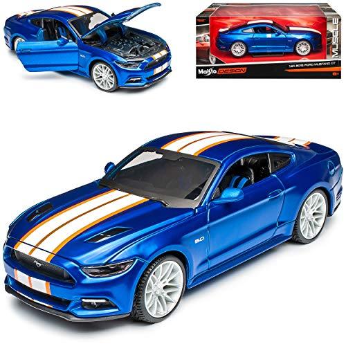 Maisto Ford Mustang VI Coupe Tuning Blau Weiss Ab 2014 1/24 Modell Auto mit individiuellem Wunschkennzeichen