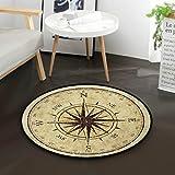Mnsruu Vintage-Teppich mit Kompass, rund, rutschfest, bequem, rund, für Wohnzimmer, Schlafzimmer, Durchmesser: 92 cm