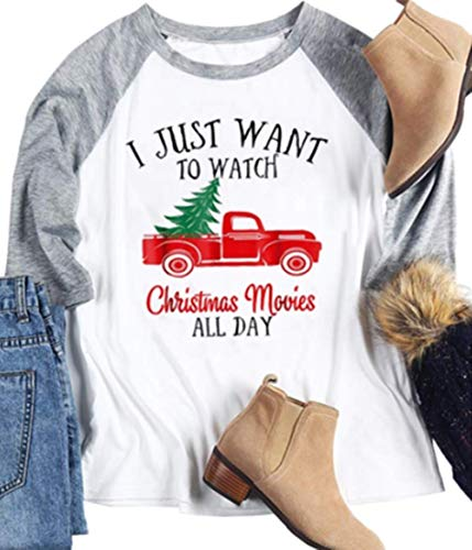 I Just Want to Watch Christmas Movies All Day Shirts Women Christmas Plaid Blouse Tops Round Neck Loose Patchwork T Shirt Gray