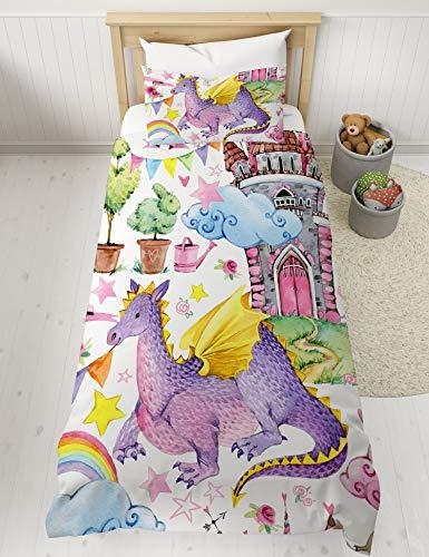 MUSOLEI Quilt Bettbezug Bettgarnitur Dinosaurier Rosa Bettwäsche für Kinder Jungen Kinder Dino Jurassic Single Cool Weiche Schlosswolken Sterne Reißverschluss (135 * 200cm, 03)