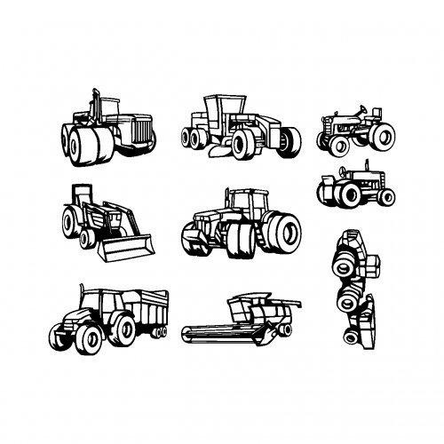 Samunshi® 9-teiliges Trecker Set Wandtattoo Mähdrescher Traktor 8 Bogen zu 22x30cm schwarz