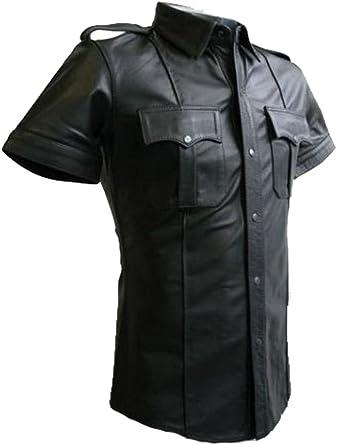 Uniforme de policía de cuero para hombre caliente genuino real negro camisa BLUF gay oveja cordero