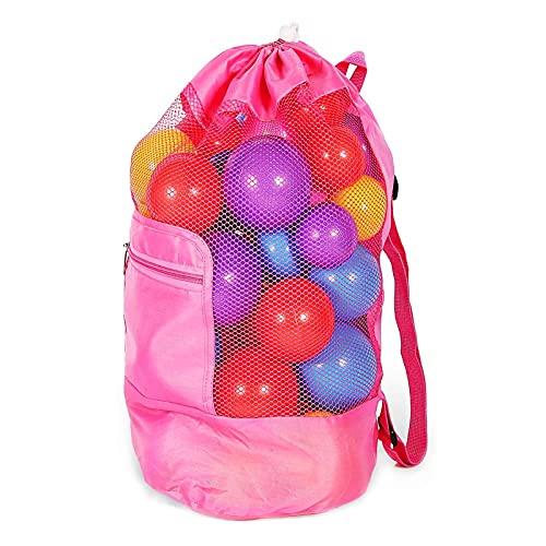 Strandspielzeug Tasche,24*48cm Sandspielzeug Tasche Netz,Wasserspielzeug Rücksack Beutel, Strandtasche Strandspielzeug,Beach Toy Bag für Kinder Jungen Mädchen, Spielwaren Nicht eingeschlossen(Rosa)