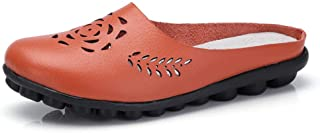 Clogs Leather Women Shoes Lady Mules Flats Sandals Slip-on Ankle Casual Slippers Soft Non Slip Close Toe